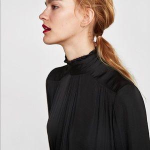 Zara Woman High Collar Button Long Sleeve Blouse S